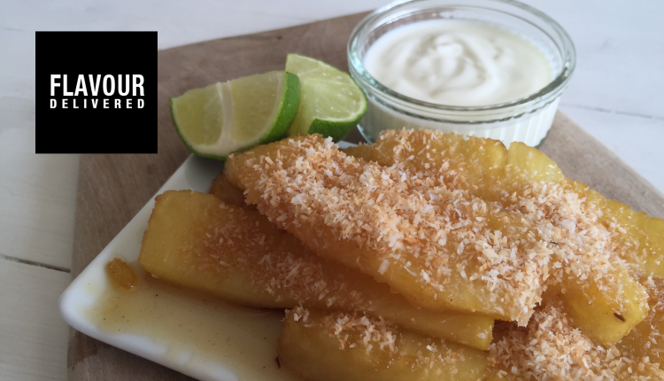 Fried Pineapple served with Natural Yoghurt